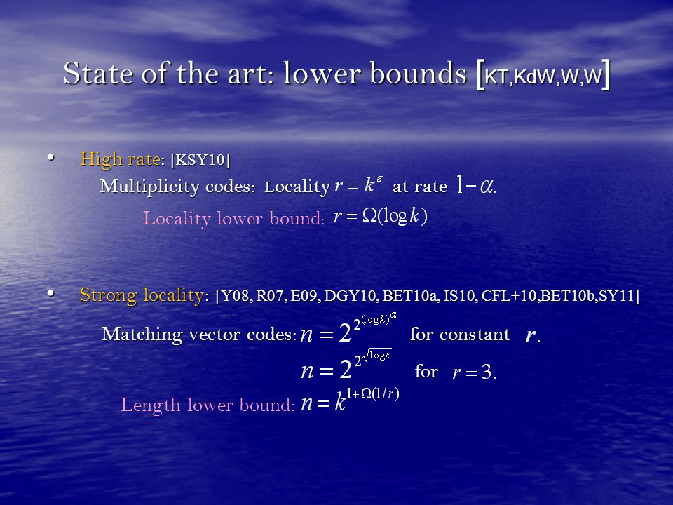 State of the art: lower bounds [KT,KdW,W,W]